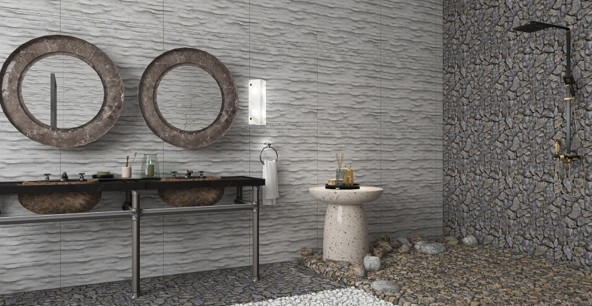Rustic Industrial Stone Interior Design Render