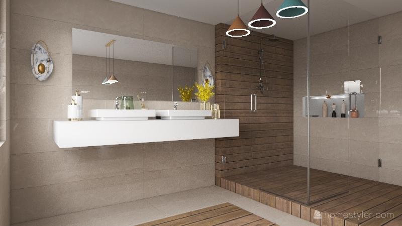 Marmore e madeira Interior Design Render