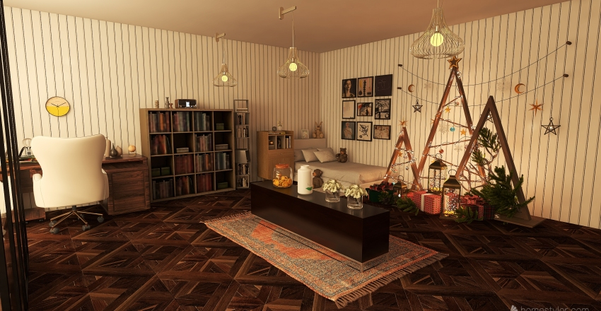 Super small aparment with a single room Interior Design Render