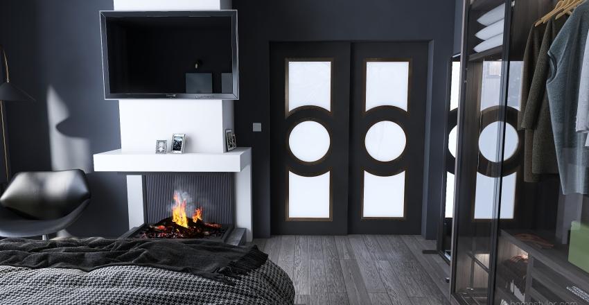 dormitorio en la casa de la nieve Interior Design Render
