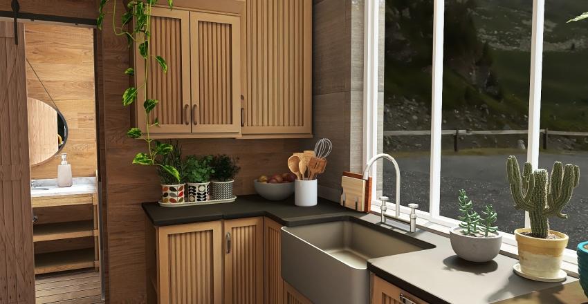 mountains tiny house. Interior Design Render