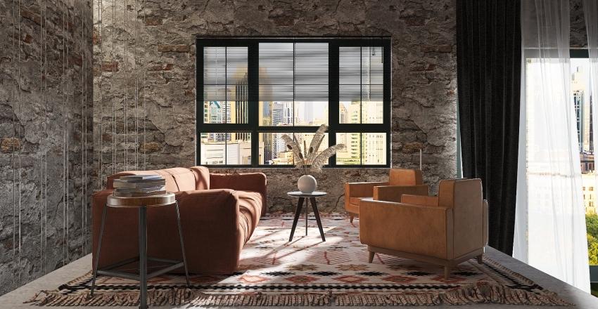 Industrial Urban Loft Interior Design Render