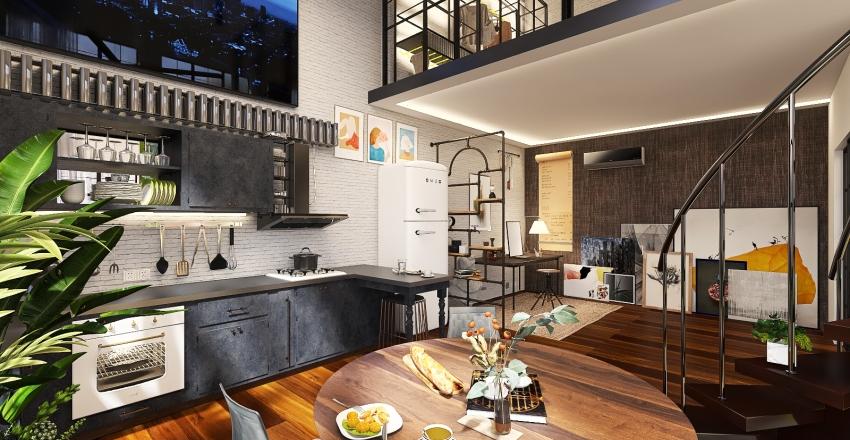 Warehouse industrial Apartment with Split level Mezzanine Interior Design Render
