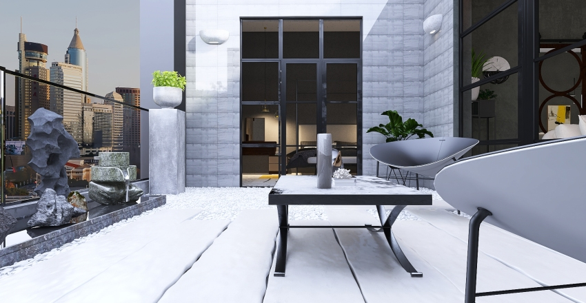 An age of stone and industrial Interior Design Render