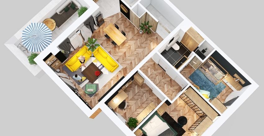 sypialnia na polnocy Interior Design Render