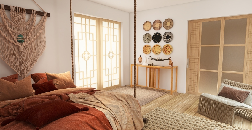 Habitación en la montaña Interior Design Render