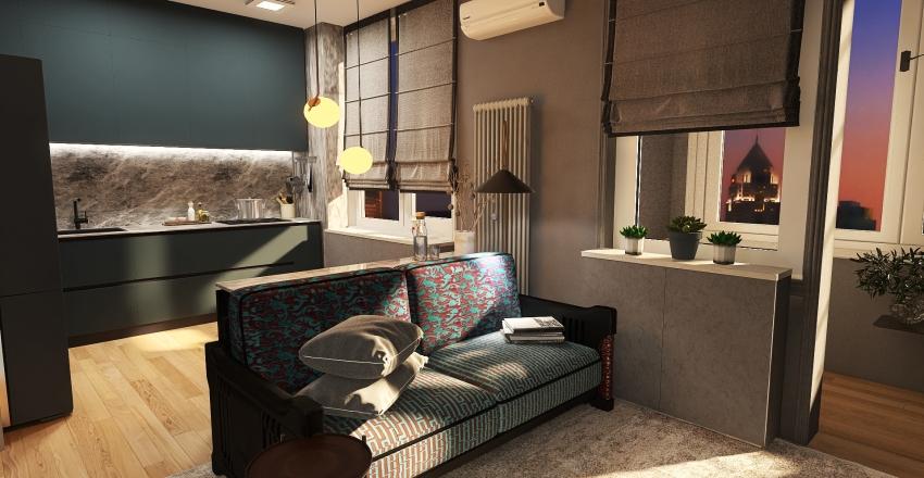 1 ოთახი Interior Design Render
