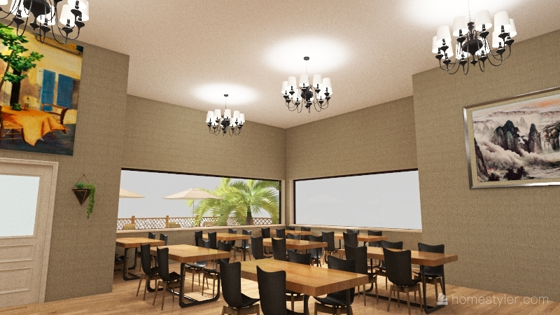 Queen restaurant bar music cafe Interior Design Render