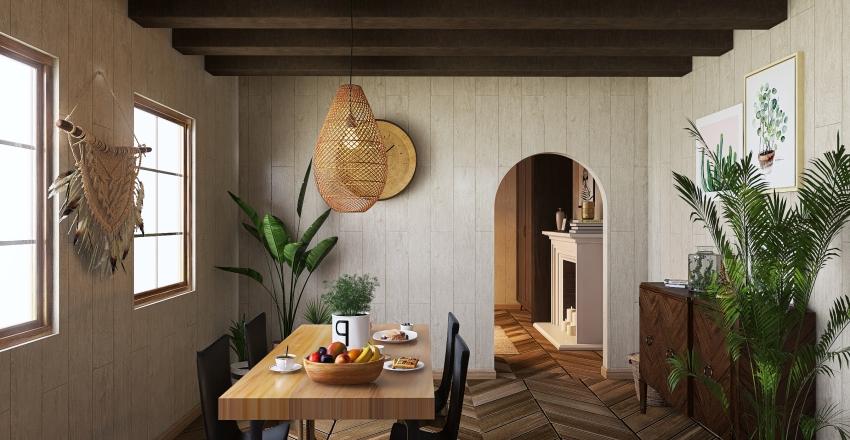 Wooden cozy house Interior Design Render