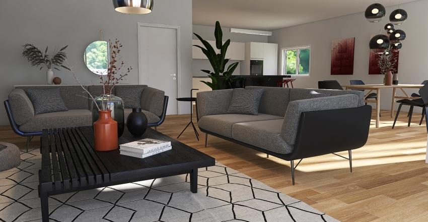 warm minimalist living room & kitchen Interior Design Render