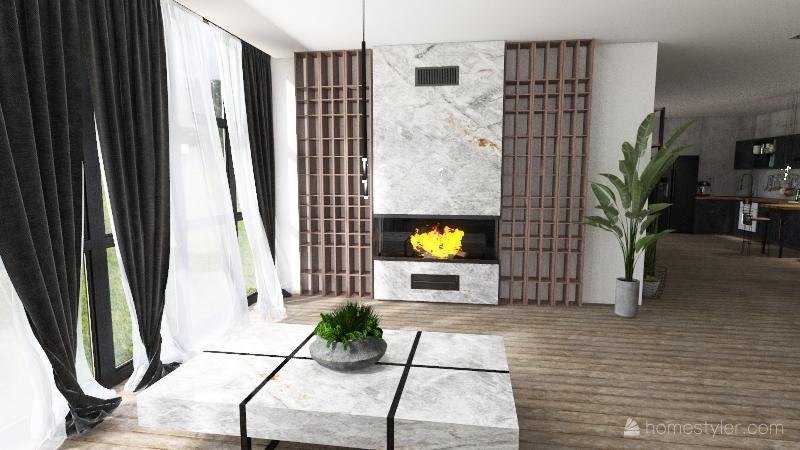 Detached house with roof garden Interior Design Render
