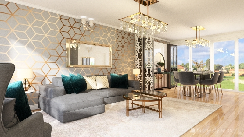 Living dining Interior Design Render
