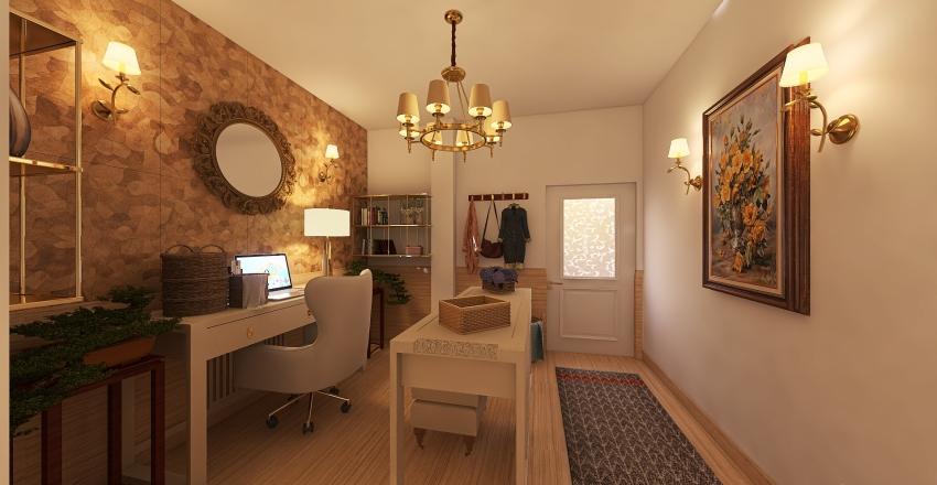 Work Room, Bedroom and Bath Interior Design Render