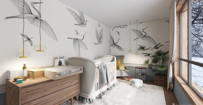 The Nordic House in Winter time Interior Design Render