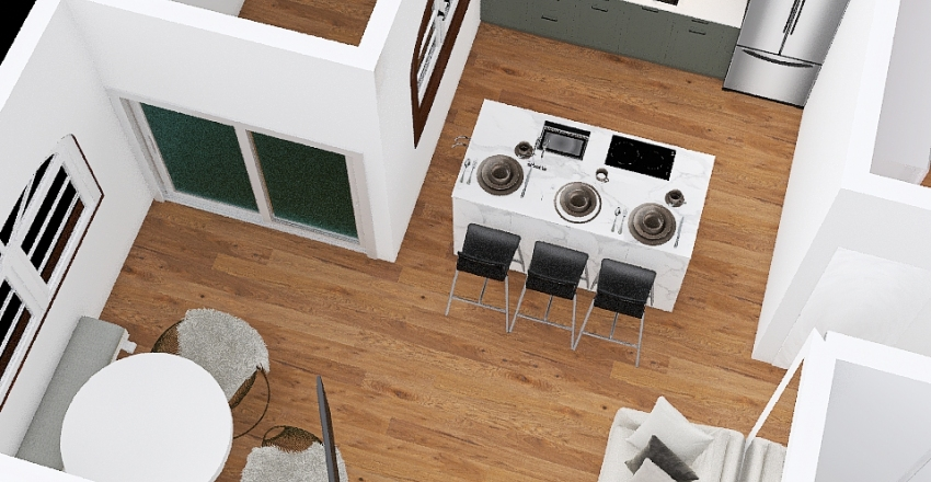 bancada com fogaO Interior Design Render