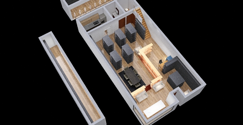 1501 Grant - rear mezz Interior Design Render