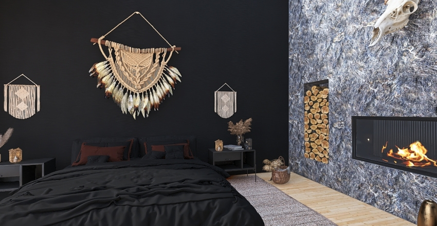 Black Modern Build Interior Design Render