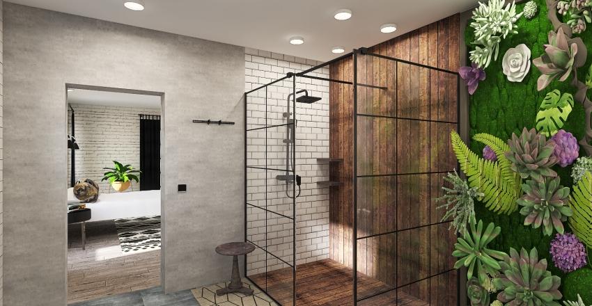 Industrial Master Bedroom Interior Design Render