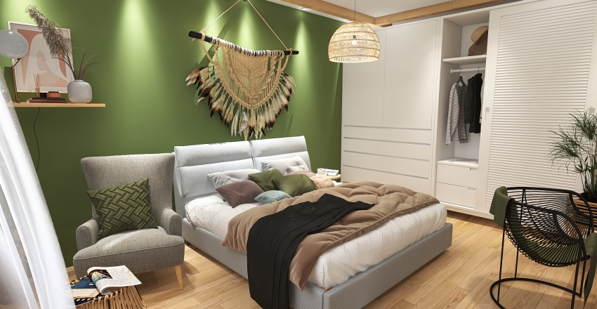 SALON Z SYPILNIĄ W STYLU BOHO Interior Design Render