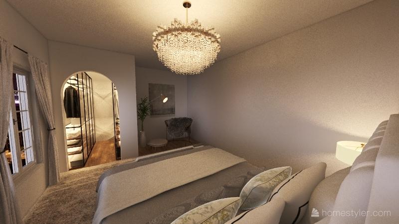 white bedroom Interior Design Render