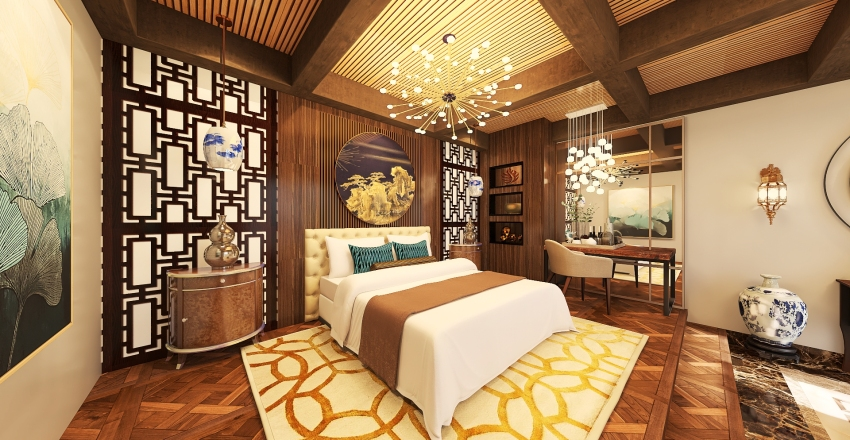 Pool and Bedroom Design Interior Design Render