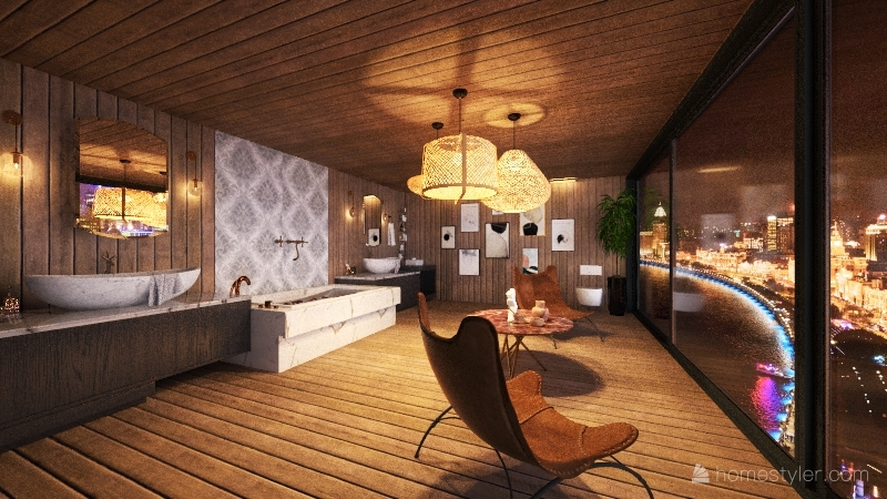 spa city bathroom Interior Design Render