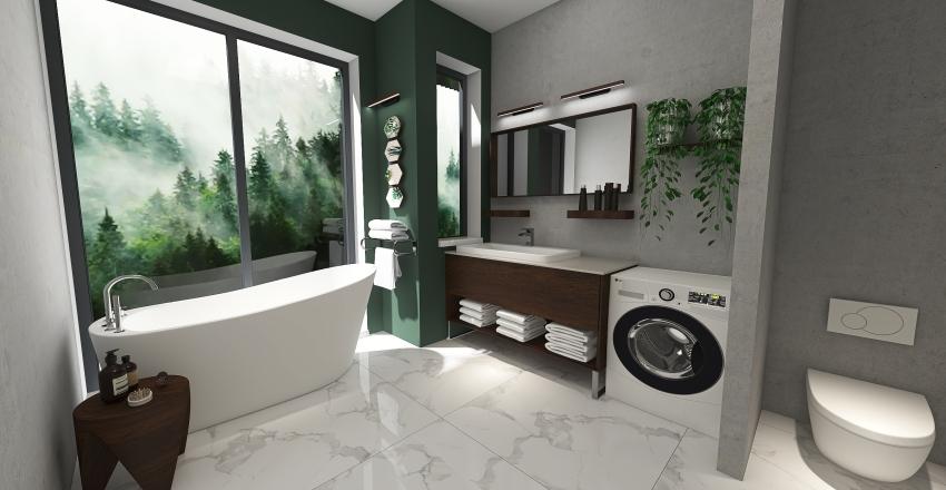Nature green bathroom Interior Design Render
