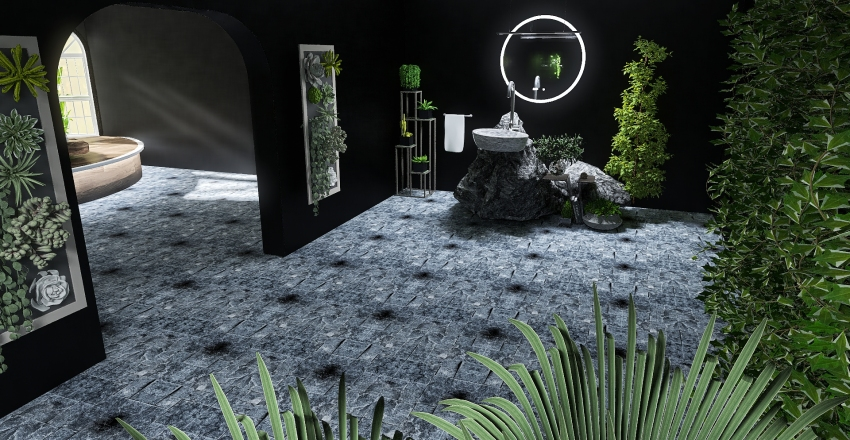 modern black and plants Interior Design Render