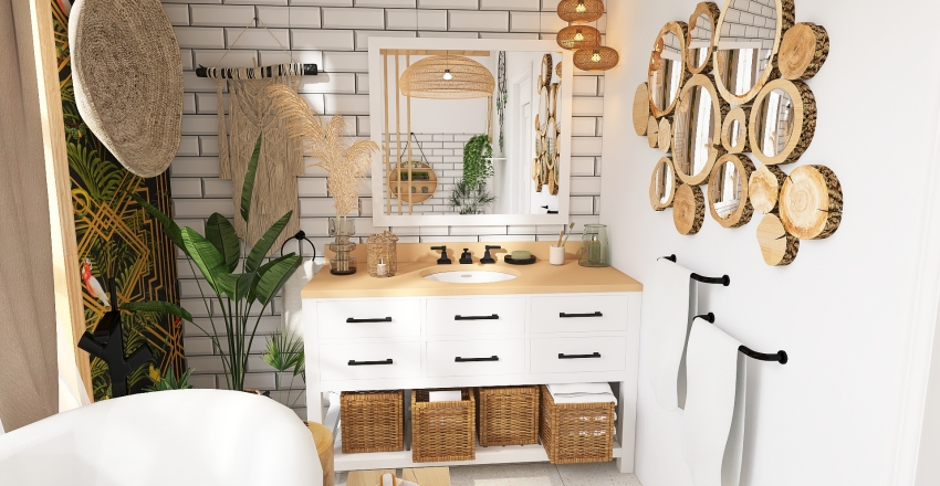 ŁAZIENKA W STYLU BOHO PLUS GARDEROBA Interior Design Render