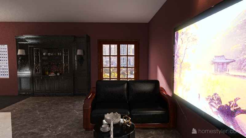 dark/pink house Interior Design Render