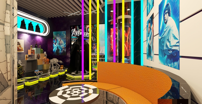 Star Wars Lounge and Collectibles Conceptual Shop Interior Design Render