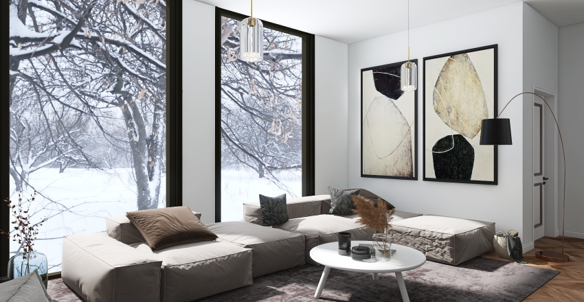Kitchen / Living Room Interior Design Render