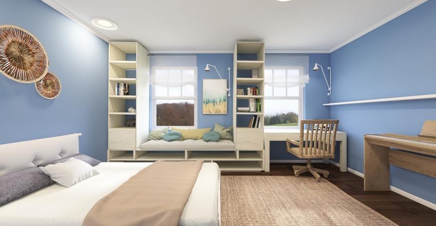 The blue teenager's bedroom Interior Design Render