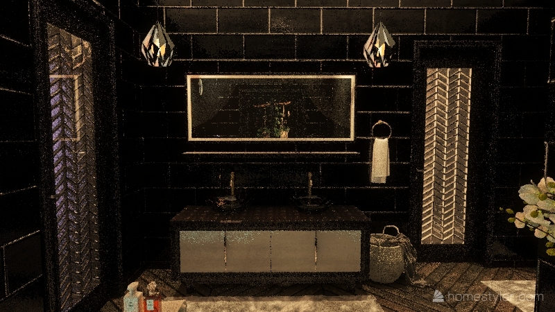Dark bathroom Interior Design Render