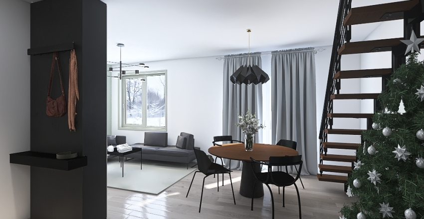 Copy of Salon tv wall Interior Design Render