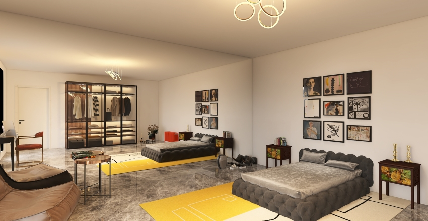yellow room Interior Design Render
