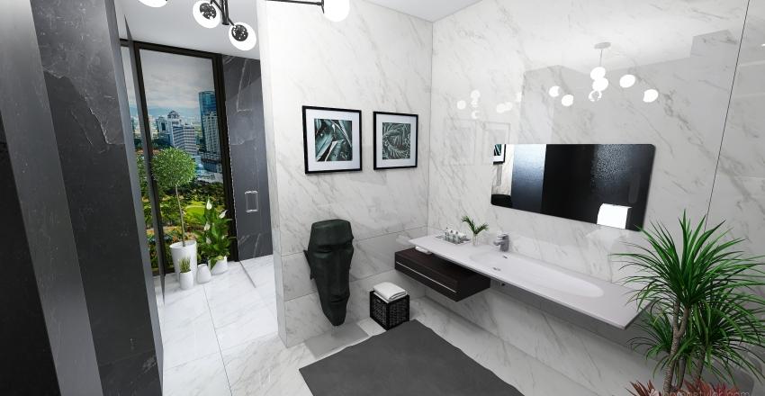 Modern greyscale bathroom Interior Design Render