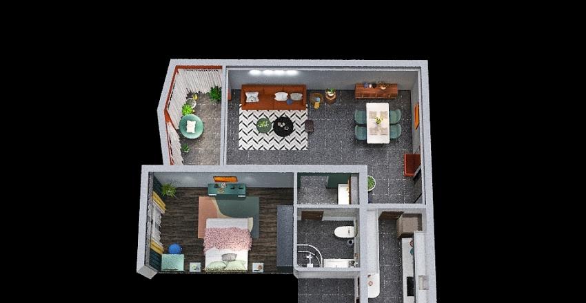Modern Pastel Interior Design Render