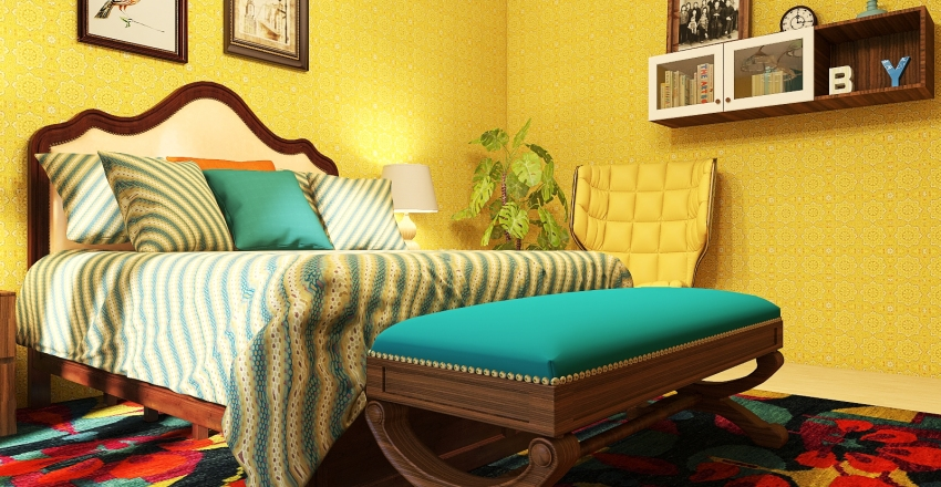 Retro house Interior Design Render