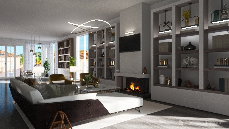 A Moden European House Interior Design Render