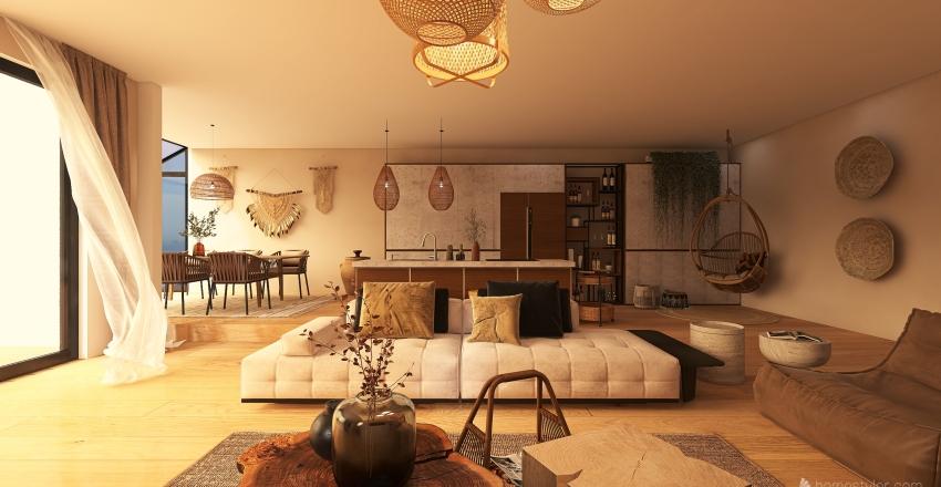 Seaside bohemian vacation house Interior Design Render