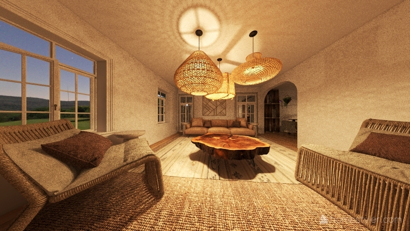 BOHO natural wood apparement Interior Design Render