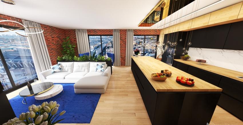 Kitchen + Living room Guthaus Interior Design Render