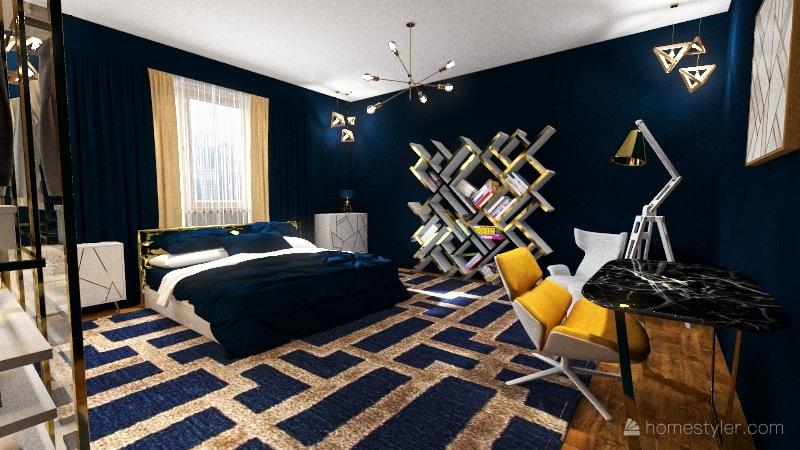 Boho bedroom Interior Design Render