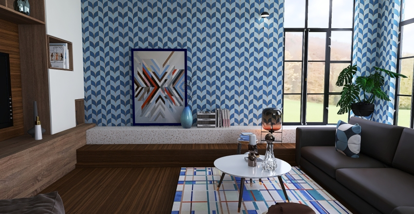 Seventies inspired with sunken living room. Interior Design Render