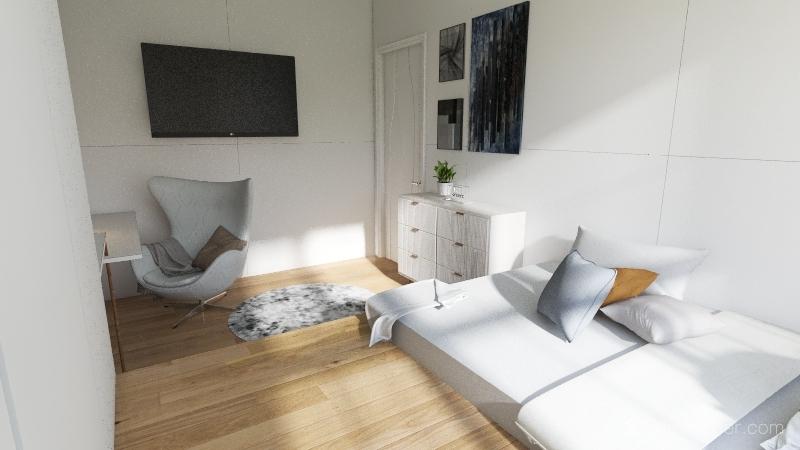 white themed bedroom Interior Design Render