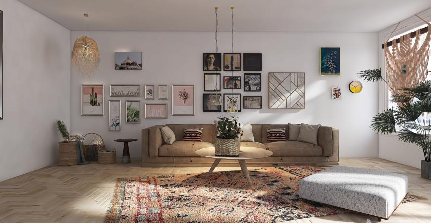 In Boho Style Interior Design Render