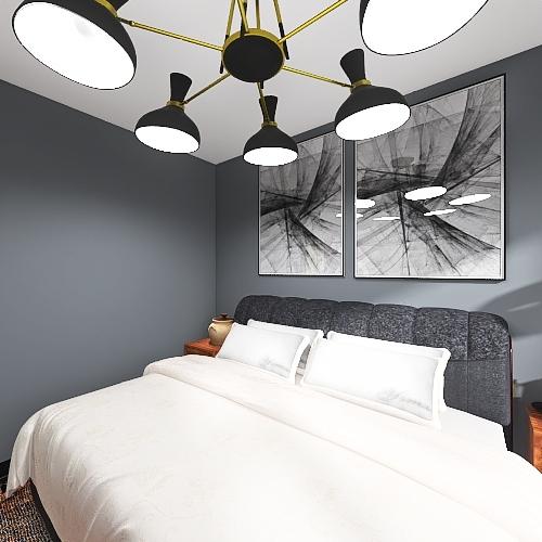 Warm Toned Bedroom Interior Design Render