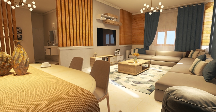 Roof House Interior Design Render