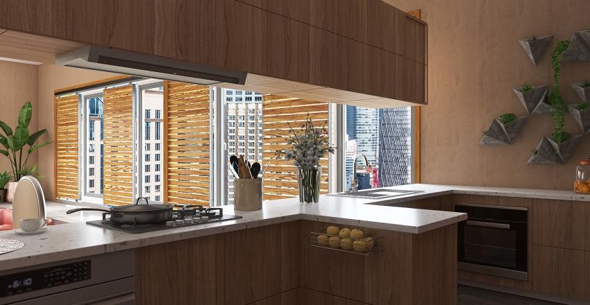 70's Inspired Interior Design Render
